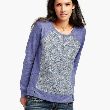Lucky Brand Ikat Printed Pullover Womens - Blue Multi