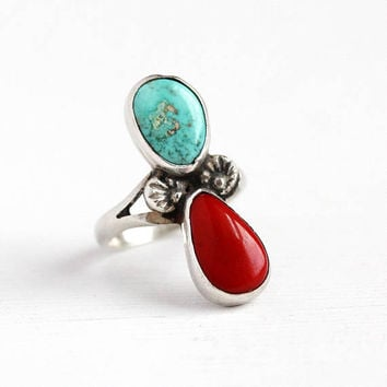 Vintage Turquoise Ring - Size 3 3/4 Sterling Silver Native American Red Coral and Teal Gem Jewelry - Retro 70s Tribal Southwestern Two Stone