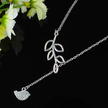 Cross and Bird Silver and Gold Plated Necklace with Leaf Detail - US SHIPPING