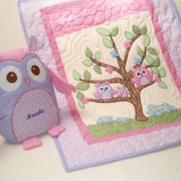 Owl Quilt, Crib Bedding, Owl Pillow, Nursery and Room Decor, Baby Girl Bedding, Blanket