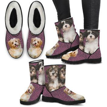 Cute Havanese Print Faux Fur Boots For Women-Free Shipping