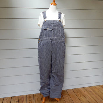 Vintage Railroad Stripe Overalls, Men's Size X-Large