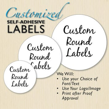 Custom round labels white sticker etsy shop product packaging