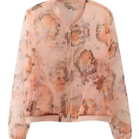 Orange Abstract Printed Sheer Mesh Zip Up Varsity Jacket