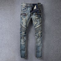 Men Pants Weathered Rinsed Denim Ripped Holes Jeans [748306661469]