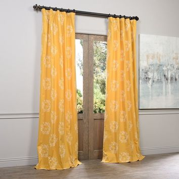 Exclusive Fabrics Isles Mustard Printed Cotton Curtain Panel | Overstock.com Shopping - The Best Deals on Curtains