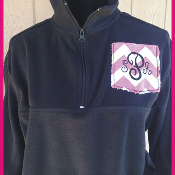 Monogrammed Pocket Quarter Zip Fleece by CheeksLittleBoutique