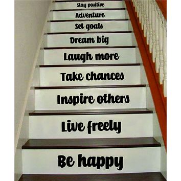 Be Happy Live Freely Stairs Quote Wall Decal Sticker Room Art Vinyl Family Home House Staircase Dream Inspirational Love Health Dream Adventure