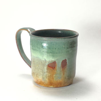 Green Handmade Ceramic Pottery Mug,12 oz. Coffee Mug,Beer Mug,Ready to Ship,large pottery mug,green and caramel ceramic mug,gren ceramic mug