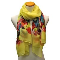 Luxury Divas Yellow Lightweight Scarf Wrap With Colorful Floral Print