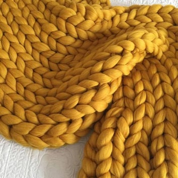 Chunky knit blanket, Merino wool, Wool throw, Chunky blanket, Giant knit blanket, Grande Punto, Knitted blanket, giant throw, blanket