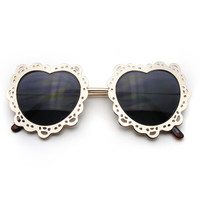 Womens Metal Boho Cute Gold Heart Shape Sunglasses