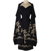 Vintage 1950's Black Embroidered Dress with Wrap