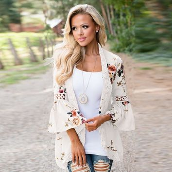 SlimBabe 2018 Women Open Stitch Jackets Flower Print Lace Summer Tops Casual Flare Sleeve Jackets