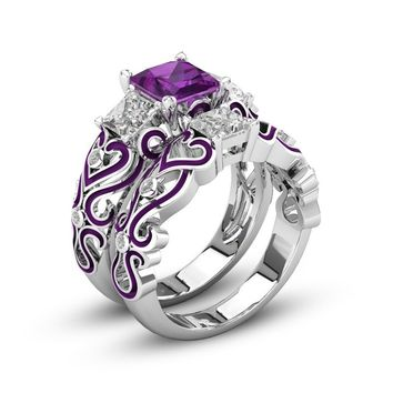 2-in-1 Womens Purple Amethyst Diamond 925 Sterling Silver Engagement Wedding Band Heart Rings Bride Ring Set