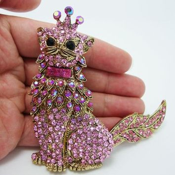 "Details about  4.5"" Vintage Cat Crown King Pendant Pin Brooch Pink Rhinestone Crystal Animal With Rotatable Tail"