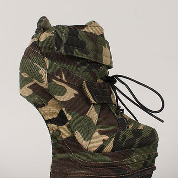 Privileged Harkins Camouflage Lace Up Heel Less Curved Wedge Sneaker