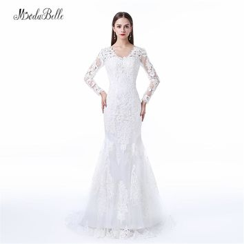 modabelle Factory Direct Robe Mariage Backless Long Sleeve Wedding Dress Lace Mermaid Tail Bruidsjurk Arabic Bridal Dresses 2017