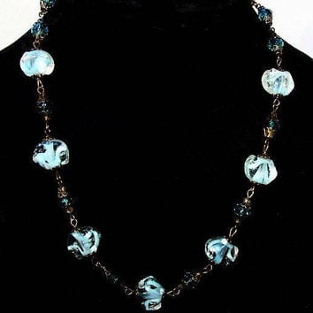 "Venetian Aqua Beaded Necklace Blue Glass Gold Filigree Barrel Clasp 20"" Boho Vintage"