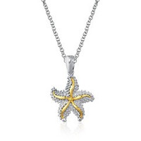 Starfish Pendant In 14k Yellow Gold and Sterling Silver