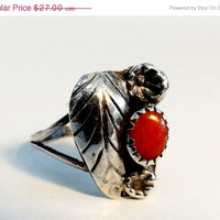 On SALE Native American Carnelian Sterling Leaf Flower Ring Size 6.5