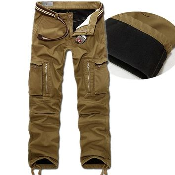 winter Warm Fashion Brand Men mens sweat casual Man Joggers camouflage  camo militar bottoms army cargo Pants Big Size 40