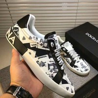 Dolce&Gabbana D&G Printed Leather White Black Sneakers - Best Deal Online