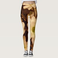 Romantic sepia flower pattern leggings