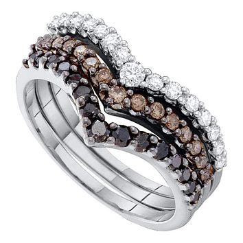 14kt White Gold Women's Round Black Color Enhanced Diamond Chevron Stackable 3-piece Band Ring 1.00 Cttw - FREE Shipping (US/CAN)