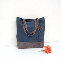 BLUE natural leather bag, large suede and leather messenger handbag, leather tote grey distressed, large blue and gray leather purse,day bag