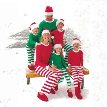 Adult Women Men Matching Family Stripe Christmas Pajamas Sleepwear Xmas Pj's Set