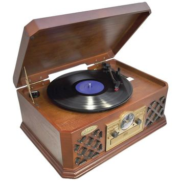 Pyle Home(R) PTCD4BT Retro Style Turntable with Bluetooth(R) CD Player & Cassette Deck