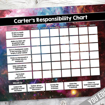 Space Chore chart for boys, Reward Chart, Responsibility Chart, Weekly Chore Chart, Behavior Chart, chore chart for kids, YOU EDIT PDF