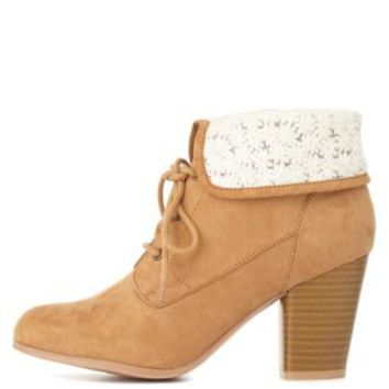 Tan Crochet-Cuffed Lace-Up Booties by Charlotte Russe