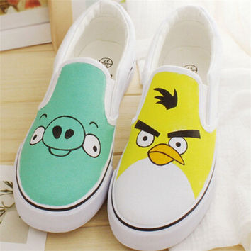 Spring\Autumn Unisex Women Cartoon Hand Painted Canvas Shoes For Girls Cat Colorful Lovely Pattern Women Loafers Flats Shoes