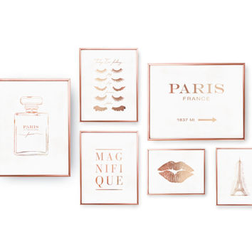SET of 6 Prints, French Decor, Paris Prints, Rose Gold Foil Print, Paris Decor, French Prints, Glamour Wall Art, Bedroom Decor, Home Decor