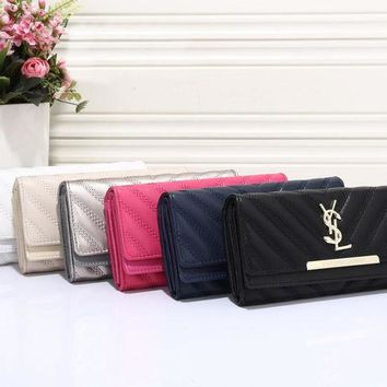 DCCKCW9 YSL Women Leather Buckle Wallet Purse