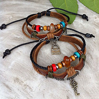 Handmade Couple Leather Bracelets- Key and Bag