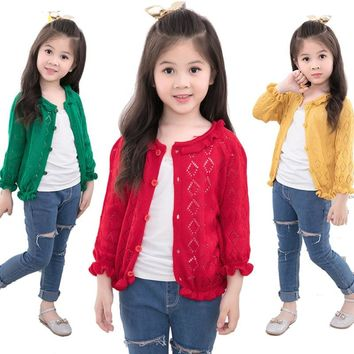 Spring Girls Hollow Out Ruffles Ruched Cardigan Sweater 4 Colors Baby Girls Preppy Style Thin Knitted Sweaters 2-14T