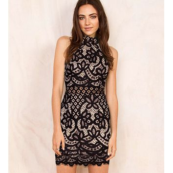 HOT HIGH COLLAR LACE DRESS