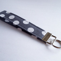 Key Chain - Key Fob - Grey and White Dots - Key Ring - Wristlet Key Chain - Fabric Key Chain - Fabric Key Fob