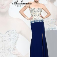 Milano Formals Long Navy Dress E1850