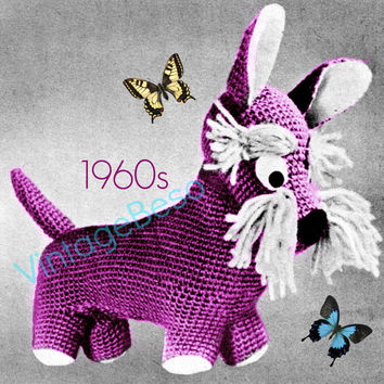 Scottish Terrier CROCHET Pattern to MAKE Scottish Terrier Soft Toy Vintage 1960s Vintage Beso Instant PDF for Immediate Digital Delivery