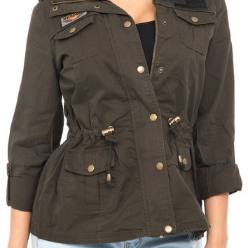 ZIP UP JACKET WITH POCKETS AND CINCHED WAIST