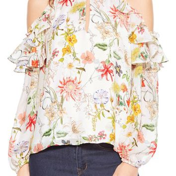 Parker Abby Floral Cold Shoulder Silk Blouse | Nordstrom