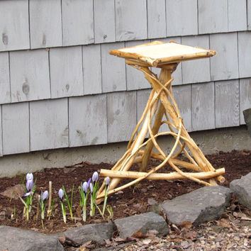 Handcrafted Cedar Side Table Plant Stand Eco Friendly Outdoor Furniture