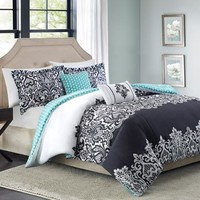 Better Homes and Gardens Damask 5-Piece Bedding Comforter Set, Black - Walmart.com