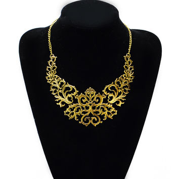 hollow out Flower  Bib Statement Necklace