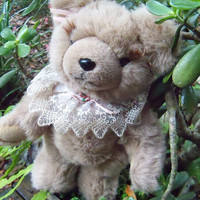"Plush Bear with Lace Fully Jointed 15"" Honey brown BEAR"