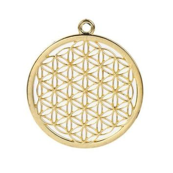 ICIKHY9 Zinc Based Alloy Flower Of Life Pendants Round Gold Plated/Silver Tone Hollow Carved 44mm(1 6/8') x 40mm(1 5/8'), 3 PCs